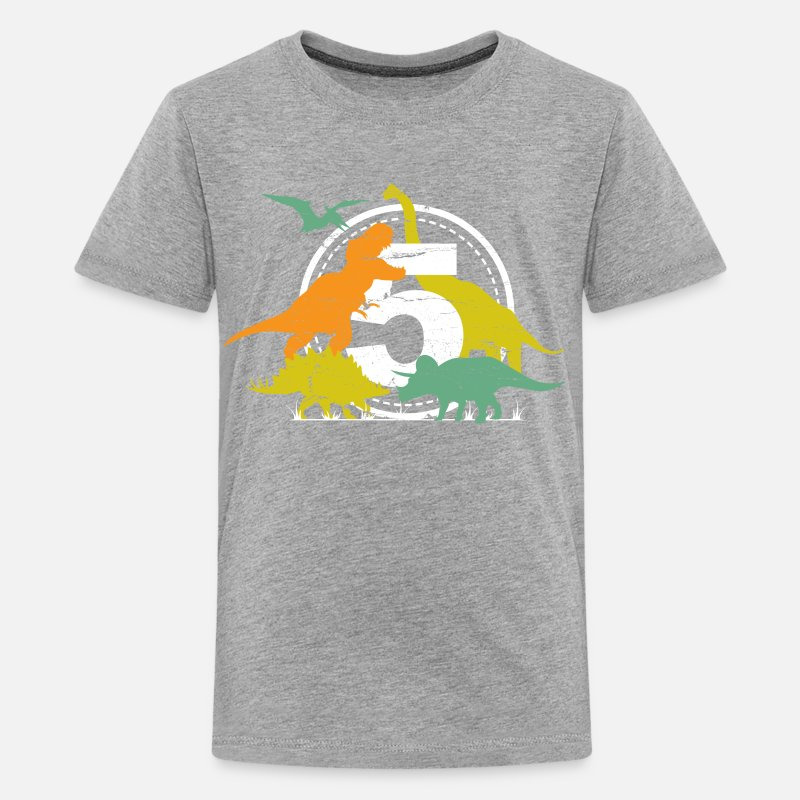 Gift Idea T-Shirts - 5th Birthday Dinosaur T-Rex Gift for Boys - Kids' Premium T-Shirt heather gray