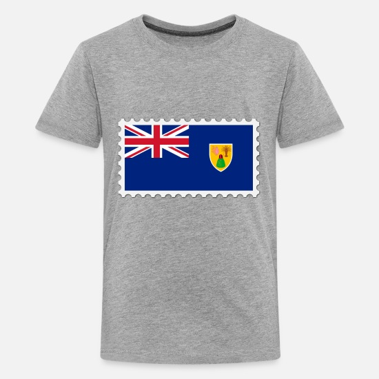 Border T-Shirts - Turks and Caicos Islands flag stamp - Kids' Premium T-Shirt heather gray