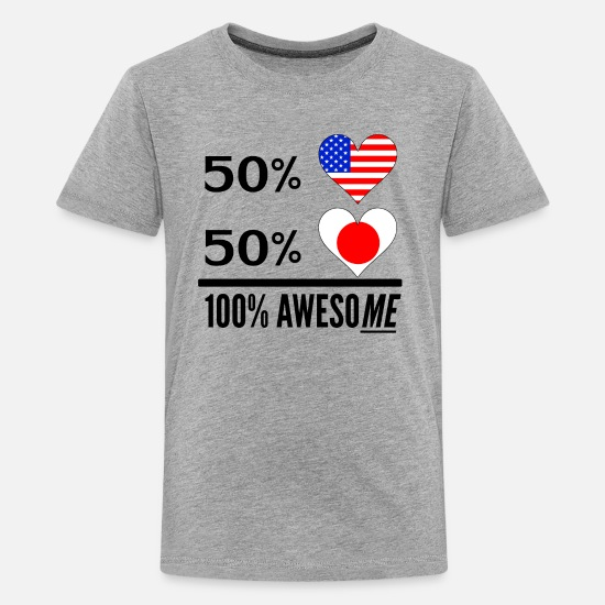 Usa T-Shirts - Half American Half Japanese 100% Awesome - Kids' Premium T-Shirt heather gray