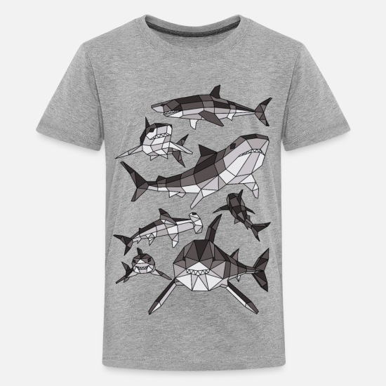 Shark T-Shirts - Geometric Sharks - Kids' Premium T-Shirt heather gray