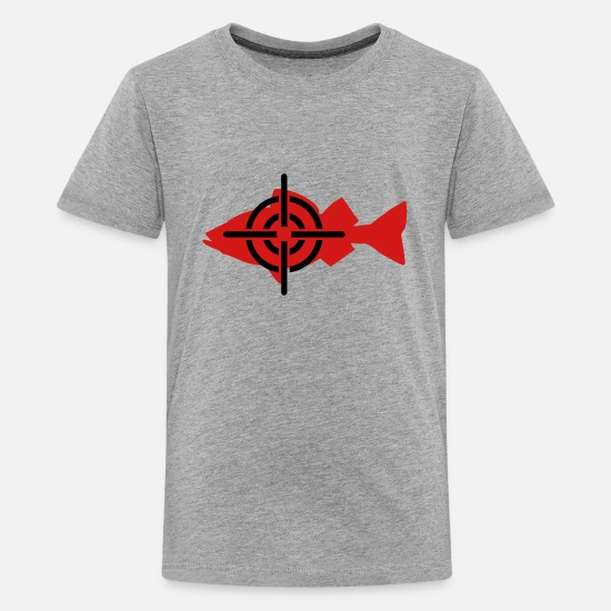 Fish T-Shirts - Fish Fishing - Kids' Premium T-Shirt heather gray