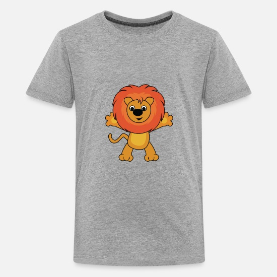Pet T-Shirts - lion wilderness wildlife - Kids' Premium T-Shirt heather gray