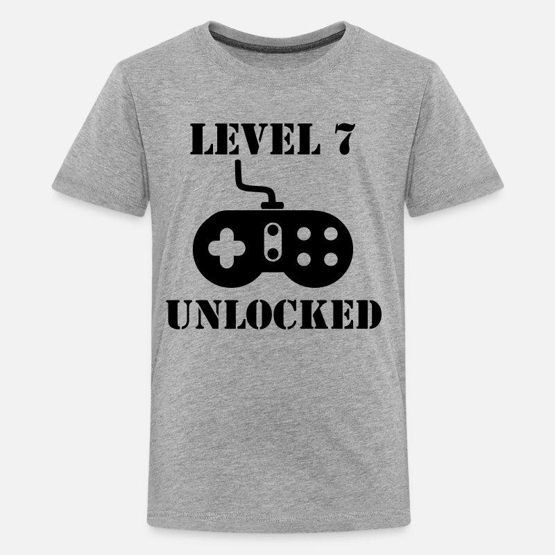 Level 7 Unlocked Video Games 7th Birthday Kids Premium T Shirt