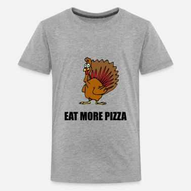 Thanksgiving Turkey Eat More Pizza Funny - Kids' Premium T-Shirt