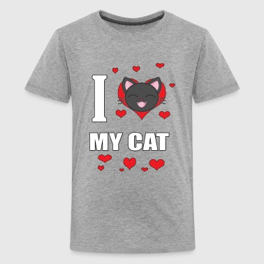 I Love My Cat With a Cartoon Cat - Kids' Premium T-Shirt