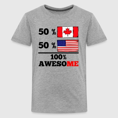 Half Canadian Half American 100% Awesome - Kids' Premium T-Shirt