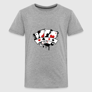 four playing cards and a banner - Kids' Premium T-Shirt