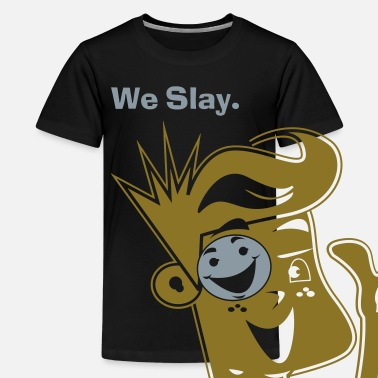Shiny We Slay All Day Shiny Shirt Metallic Silver & Gold - Kids' Premium T-Shirt