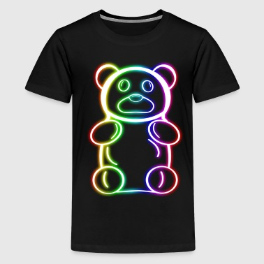 Neon Light Neon Rainbow Gummy Bear - Kids' Premium T-Shirt