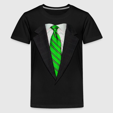 Realistic Suit and Neck Tie Green - Kids' Premium T-Shirt