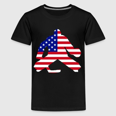 American Flag Goalie - Kids' Premium T-Shirt