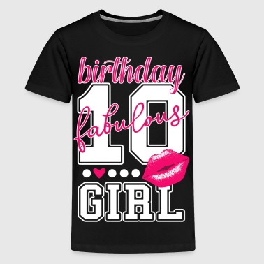 10th birthday girl pink kiss college Style number - Kids' Premium T-Shirt