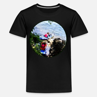 Father Son Father and Son Launching Kayaks - Kids' Premium T-Shirt