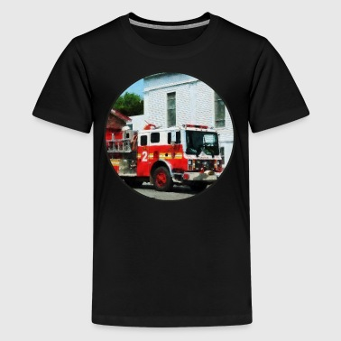 Fire Truck Fire Engine in Front of Fire Station - Kids' Premium T-Shirt