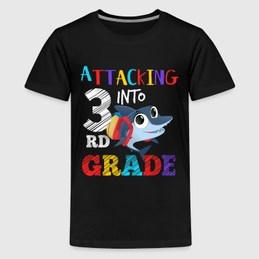 Shark Attacking Into 3rd Grade - Kids' Premium T-Shirt