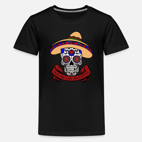 Fashion T-Shirts - Dia de los muertos Skull - Kids' Premium T-Shirt black