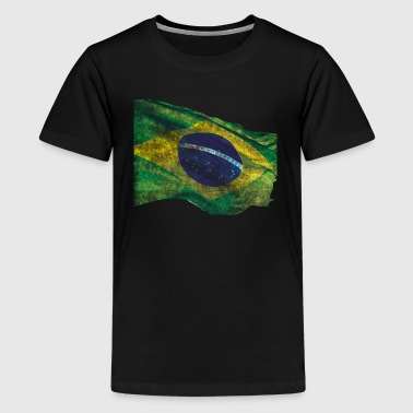 Wavey Distressed Brazil Brasil Flag - Kids' Premium T-Shirt