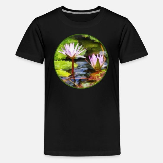 Water T-Shirts - Two Purple Water Lotus - Kids' Premium T-Shirt black