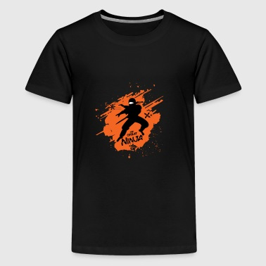 The great ninja on orange background - Kids' Premium T-Shirt