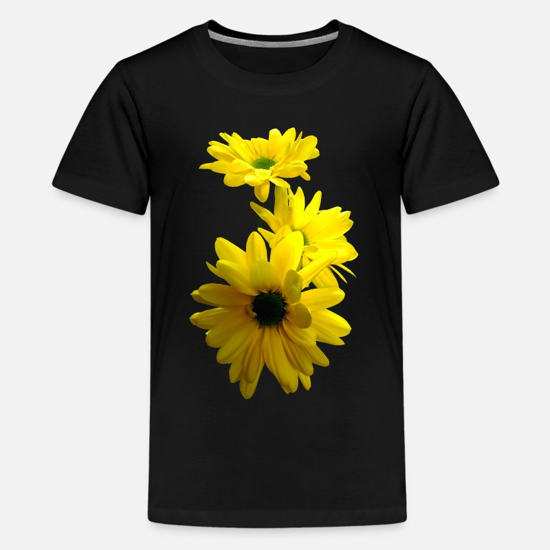 Bloom T-Shirts - Three Bright Yellow Daisies - Kids' Premium T-Shirt black