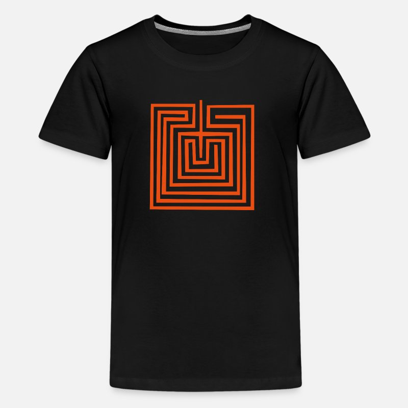 American T-Shirts - Mother Earth or Maze - Hopi Native American Symbol - Kids' Premium T-Shirt black
