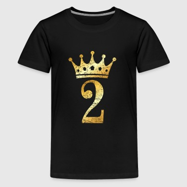 2nd Birthday Crown Number 2 (Ancient Gold) - Kids' Premium T-Shirt