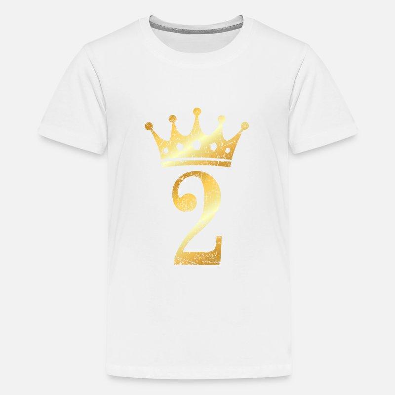 2nd Birthday Crown Number 2 Ancient Gold Kids Premium T Shirt