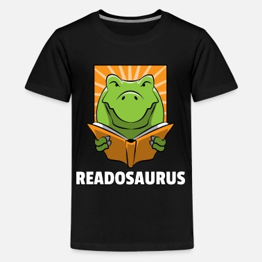 Reading Dino Read Book Reading Rex Lovers Funny Cute Gift - Kids' Premium T-Shirt