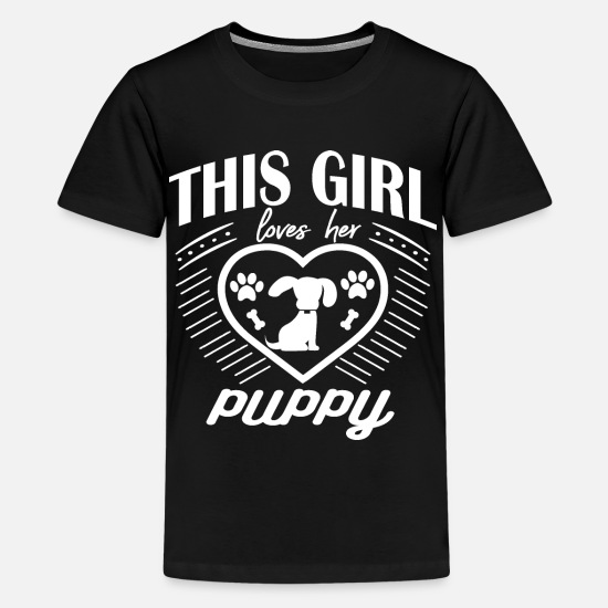 Sayings T-Shirts - This Girl Loves Her Puppy Funny Design for Girls, - Kids' Premium T-Shirt black