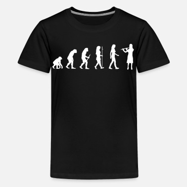 Instrument Flutist Gift Transverse Flute Player Evolution Man - Kids' Premium T-Shirt