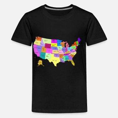 State Capital United States Map With Capitals (Fixed) - Kids' Premium T-Shirt