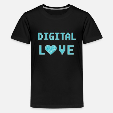 Computer Digital Love Love Heart for Nerds or Pixel pc - Kids' Premium T-Shirt