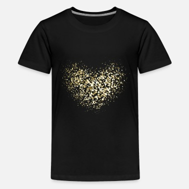 Glam Golden Heart Glitter Sparkle Party Design - Kids' Premium T-Shirt
