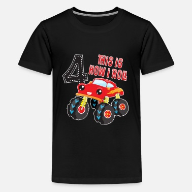 4th Birthday Monster Truck How I Roll 4th Birthday - Kids' Premium T-Shirt