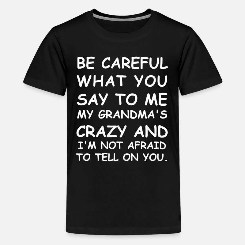Careful T-Shirts - Be Careful What You Say To Me - Kids' Premium T-Shirt black