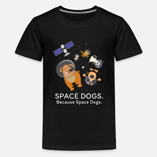 Kids Designs T-Shirts - Space Dogs - Spaceship Galaxy Satellite Dogs - Kids' Premium T-Shirt black