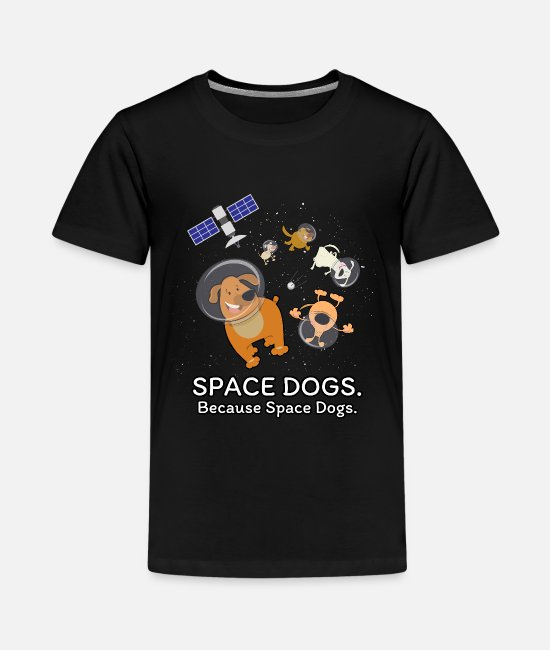Moon T-Shirts - Space Dogs - Spaceship Galaxy Satellite Dogs - Kids' Premium T-Shirt black