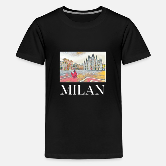 Vacation T-Shirts - Milan City Skyline Art Sights Landmark - Kids' Premium T-Shirt black