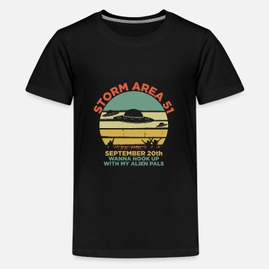 Saucer Storm Area 51 UFO Alien Abduction Retro Cool Gift - Kids' Premium T-Shirt