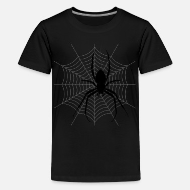 Arachnophobia Halloween Black Spider Web - Kids' Premium T-Shirt
