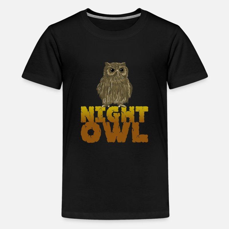 f68fa9db3 Owl T-Shirts - Night Owl Nocturnal Predator Bird Lover Bird - Kids' Premium