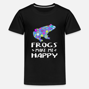 Frogs Make Me Happy Cute Floral Gift Ideas - Kids' Premium T-Shirt
