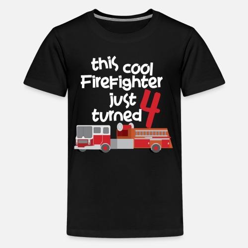 Kids Premium T ShirtCool Firefighter 4 Year Old Birthday Boy