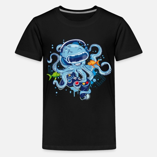 Gamer T-Shirts - Octopus with gamepad and VR goggles - Kids' Premium T-Shirt black
