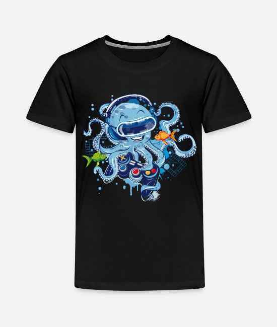 Headphones T-Shirts - Octopus with gamepad and VR goggles - Kids' Premium T-Shirt black