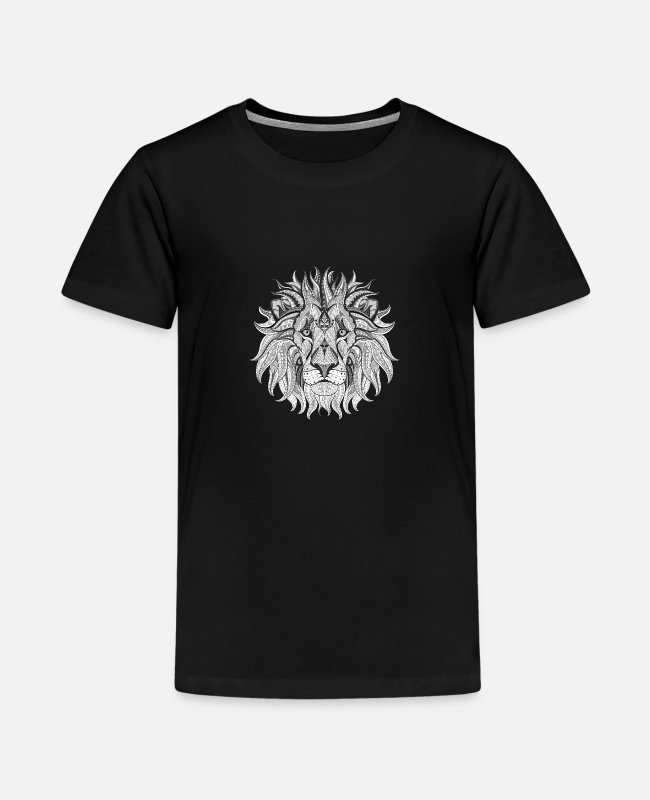 Travel T-Shirts - Ethnic Tribal Lion BW - Kids' Premium T-Shirt black