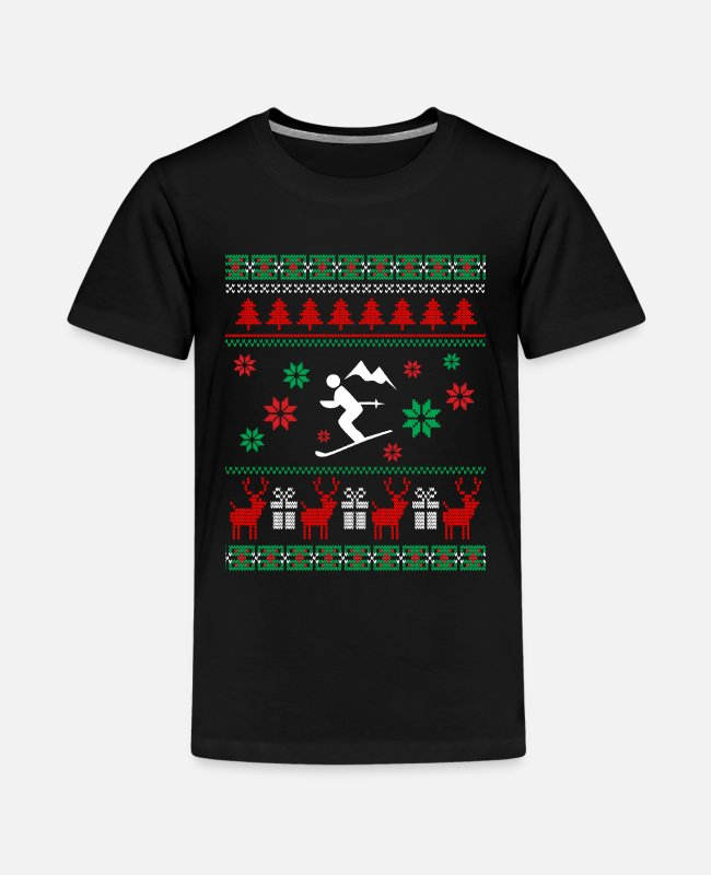 Christmas T-Shirts - Skiing ugly christmas sweater ski snowboard gift - Kids' Premium T-Shirt black