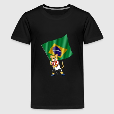 Brazil fan cat - Kids' Premium T-Shirt