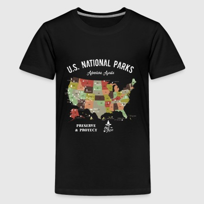 National Park Map Vintage Hiking Camping - Kids' Premium T-Shirt