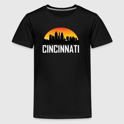 Sunset Skyline Silhouette of Cincinnati OH - Kids' Premium T-Shirt